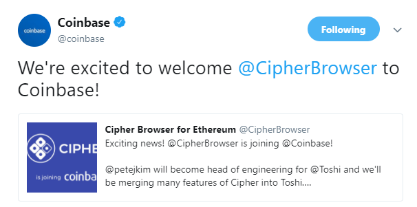 Cipher Browser was acquired by Coinbase